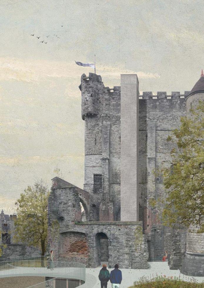 De liftkoker die tegen de donjon zou gebouwd worden.