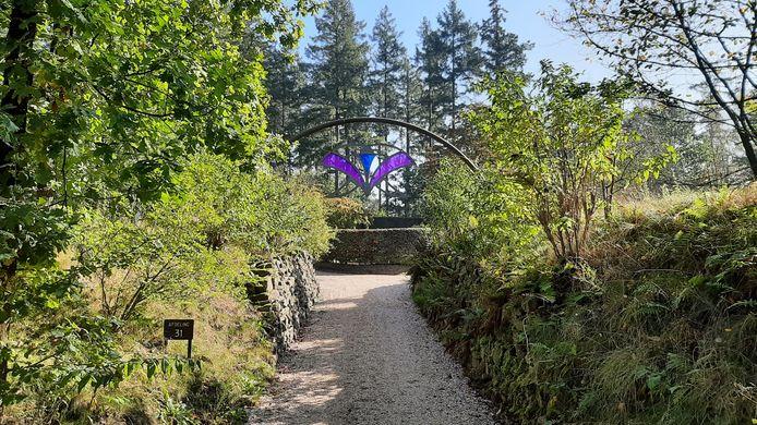 Het pad dat leidt naar het Kinderhof, de kinderbegraafplaats op Rusthof, waar de groep paranormaal begaafden onlangs  energiemetingen deed van overledenen.