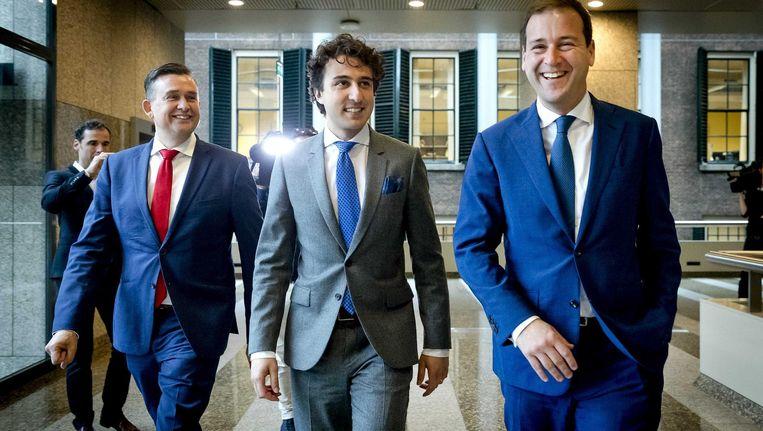 Lodewijk Asscher (r) met Emile Roemer en Jesse Klaver. 'We waren alle drie tevreden over deze week' Beeld ANP
