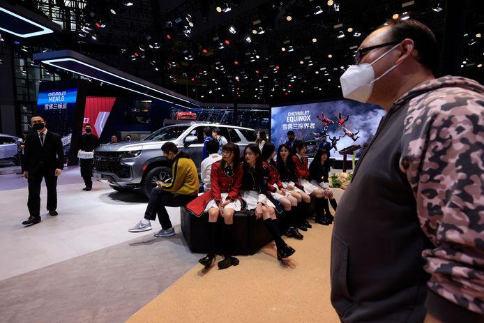 Een rustpunt op de drukke beursvloer. Ruim duizend exposanten hebben zich in Sjanghai verzameld.