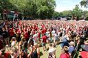 Het Duivels Park in Wevelgem tijdens één van de vorige grote toernooien van de Rode Duivels.