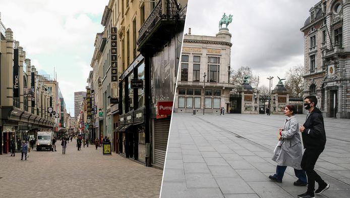 De Nieuwstraat in Brussel en het Astridplein in Antwerpen vandaag: weinig volk op straat.