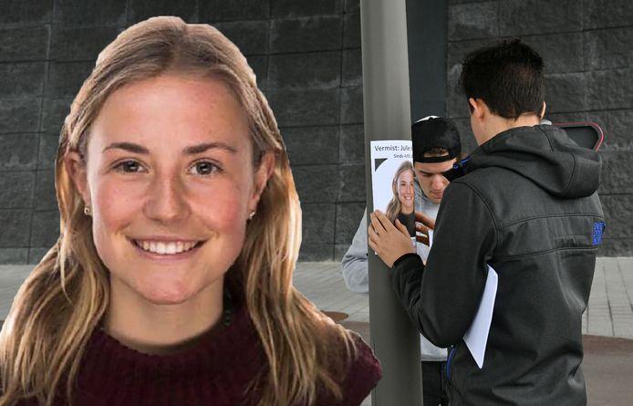 Julie Van Espen verdween gisteravond. Vrienden hangen in de omgeving affiches op.