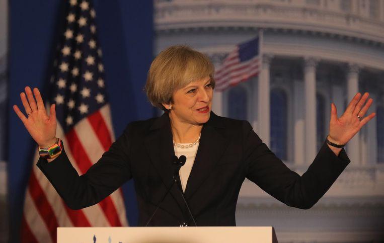 Theresa May tijdens haar toespraak in de Verenigde Staten. Beeld AFP