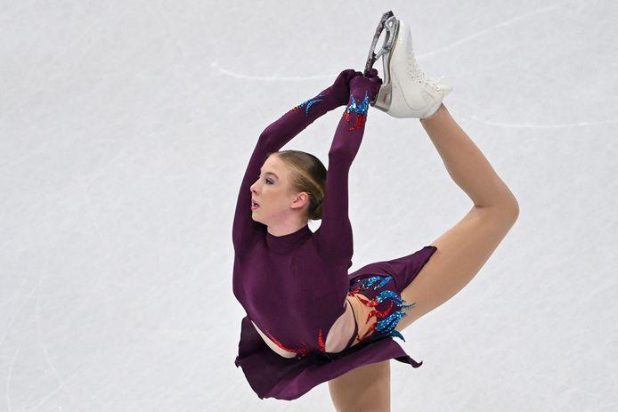 Lindsay van Zundert in actie tijdens de korte kür.