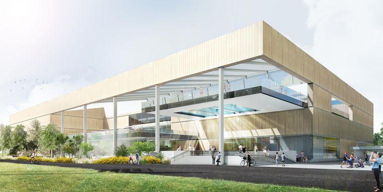 Zo zal het nieuwe zwembad aan de Ruggeveldlaan eruitzien. Het buitenbad krijgt een spectaculaire doorkijkbodem.