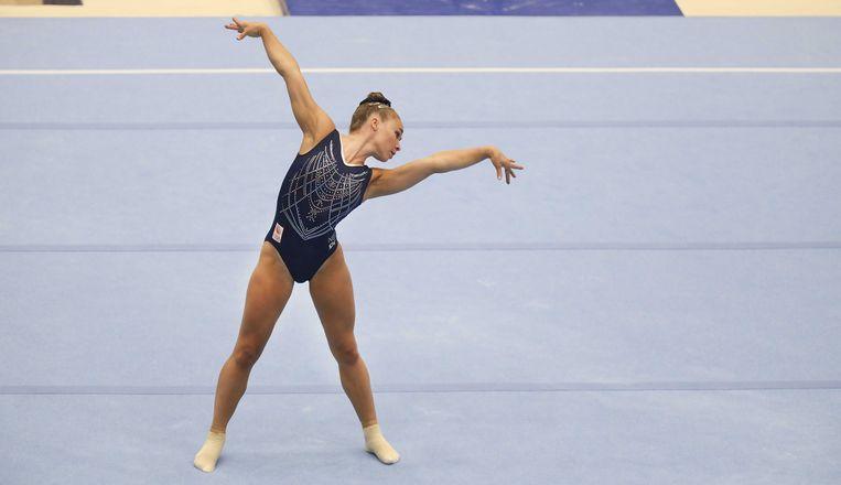 Eythora Thorsdottir in actie in Rotterdam, tijdens de tweede teamkwalificatie voor een plek in het olympisch team.  Beeld ANP