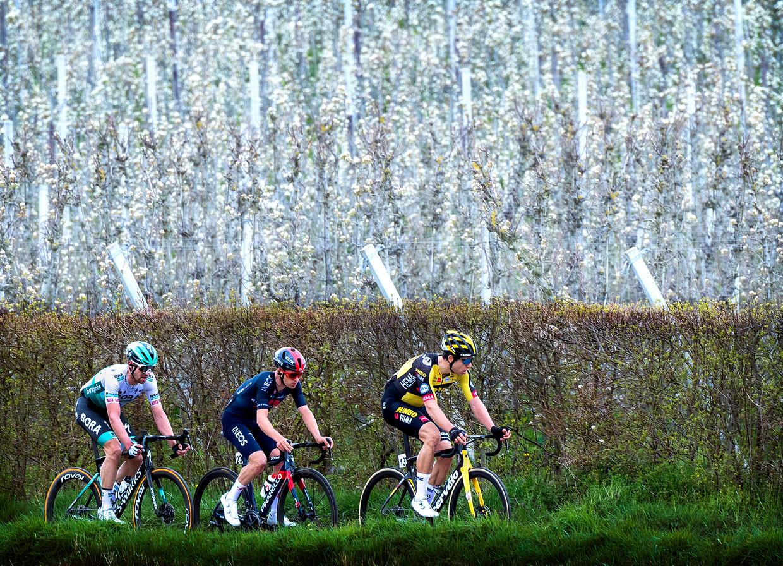 Wout van Aert gaat Tom Pidcock en Maximilian Schachmann voor in de Amstel Gold Race. Op de finish weet Van Aert Pidcock nipt voor te blijven.  Beeld Klaas Jan van der Weij / de Volkskrant