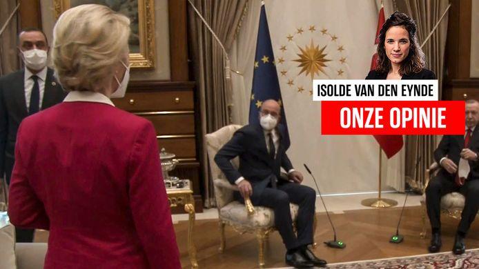 Ursula von der Leyen krijgt geen stoel aangeboden in Ankara.