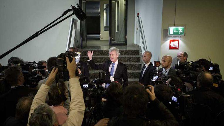 Geert Wilders geeft een toelichting aan de pers in de Tweede Kamer. Beeld anp