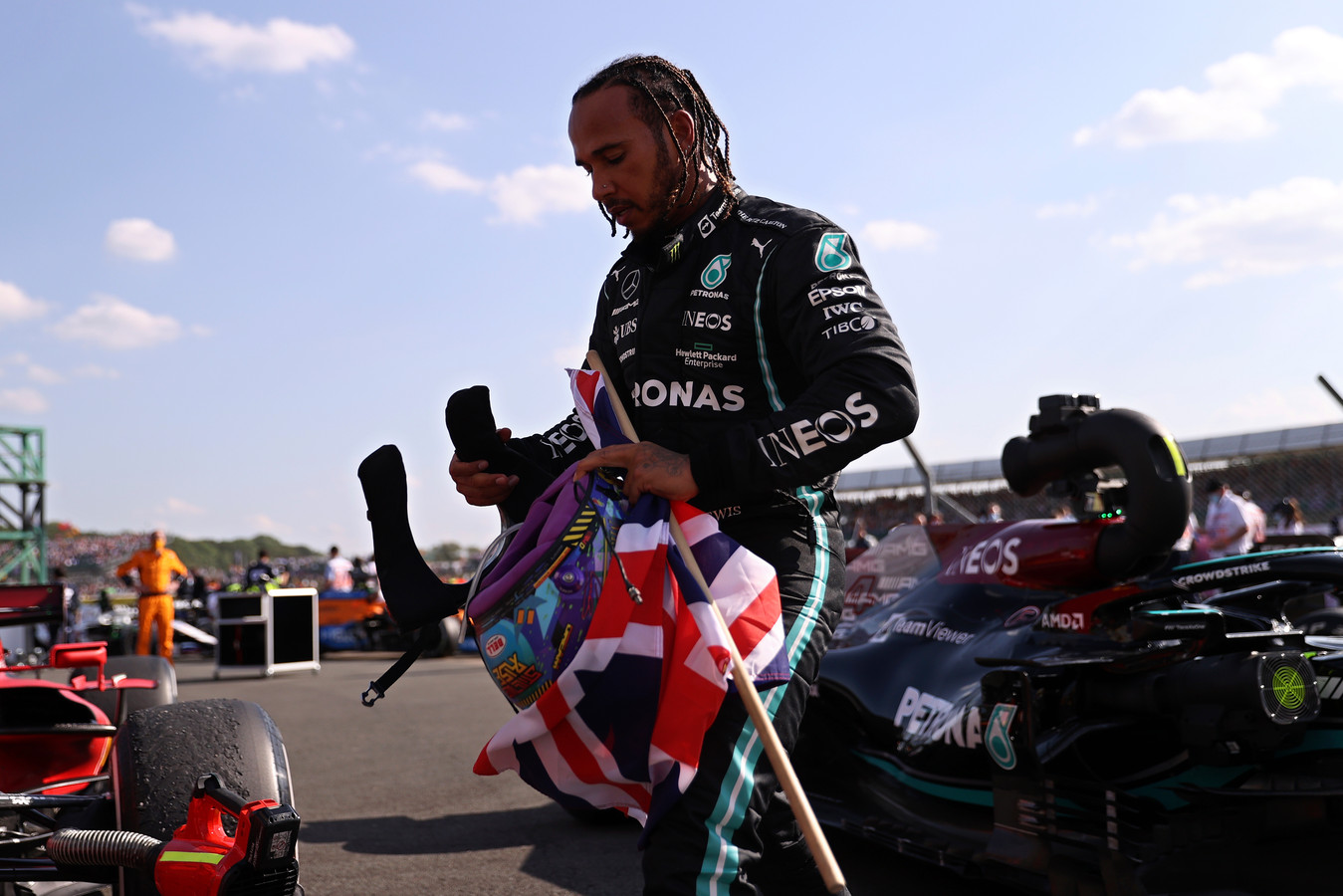 Lewis Hamilton na zijn overwinning op Silverstone.