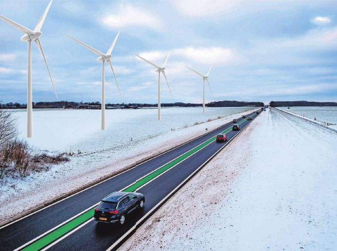 Een impressie van windmolens langs de Maas en Waalweg.