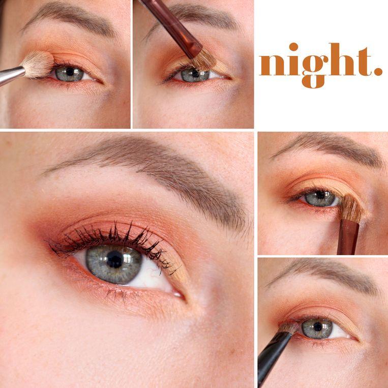 Ga 's avonds voor meer effect met een warme roestkleur . Wij gebruikten de kleuren 'Realgar' en 'Red Ochre' uit het Modern Renaissance Eyeshadow Palette van Anastasia.