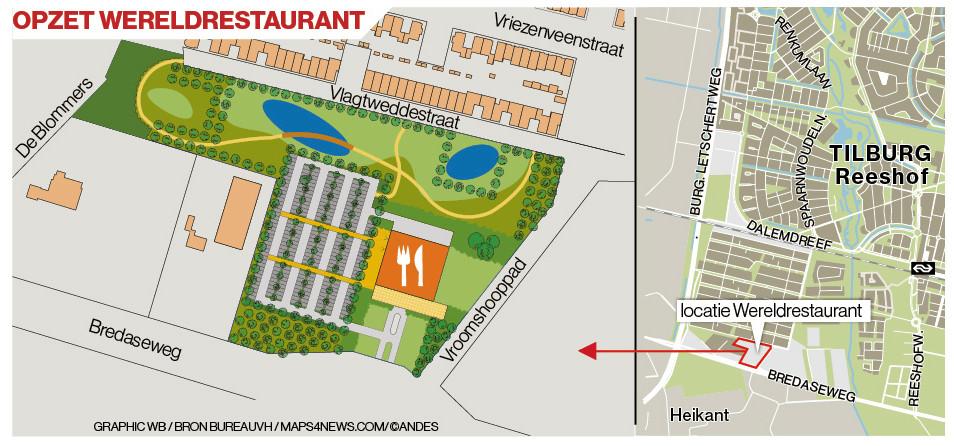 De locatie en eerste terreinopzet van het beoogde wereldrestaurant.
