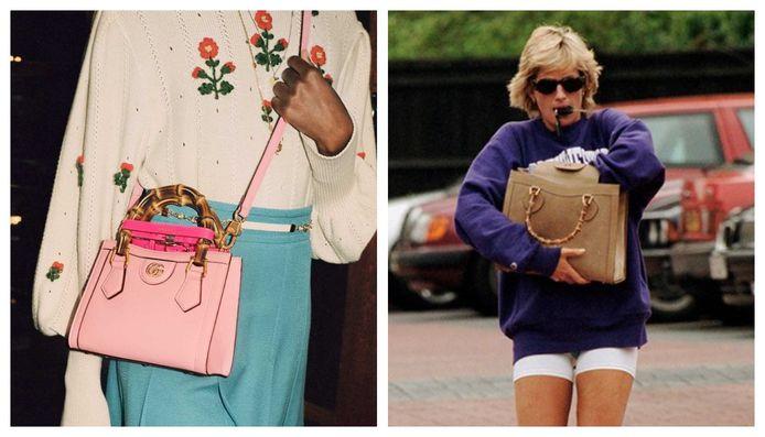 Links, de nieuwe uitgave van de 'Diana bag', rechts, prinses Diana met het klassieke model.