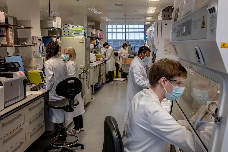 Wetenschappers voeren klinische tests uit met het AstraZeneca-vaccin in de laboratoria in Oxford.  Beeld NYT/ANDREW TESTA