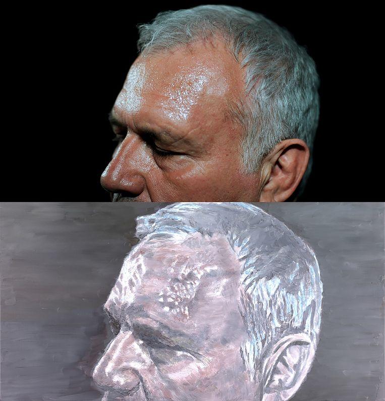 Bovenaan de foto van Katrijn Van Giel, met eronder het schilderij van Luc Tuymans. Beeld Katrijn Van Giel / imagedesk / Tuymans