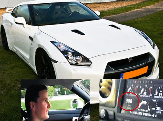 De auto en twee beelden uit het filmpje dat Pieter Kiveron zelf op internet zette na zijn snelle rit. Op de beelden is de snelheid van 308 km/u goed zichtbaar.