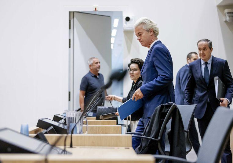 De Nederlandse anti-islampoliticus Geert Wilders (PVV) tijdens de zitting op 24 augustus.  Beeld EPA