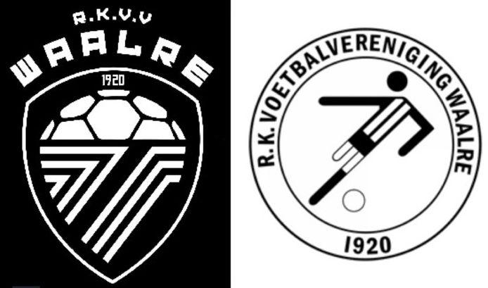 Het nieuwe en het oude clublogo van RKVV Waalre.