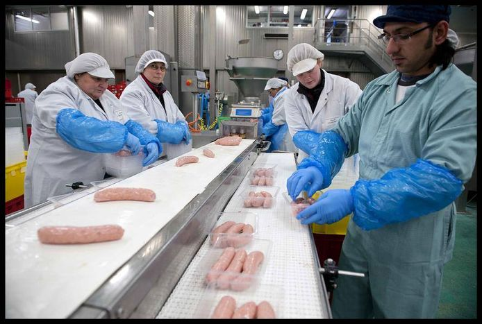 Een productielijn bij Westvlees.