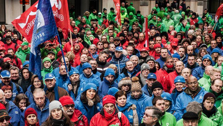 Protest tegen pensioenhervormingen in 2015. Beeld Eric de Mildt