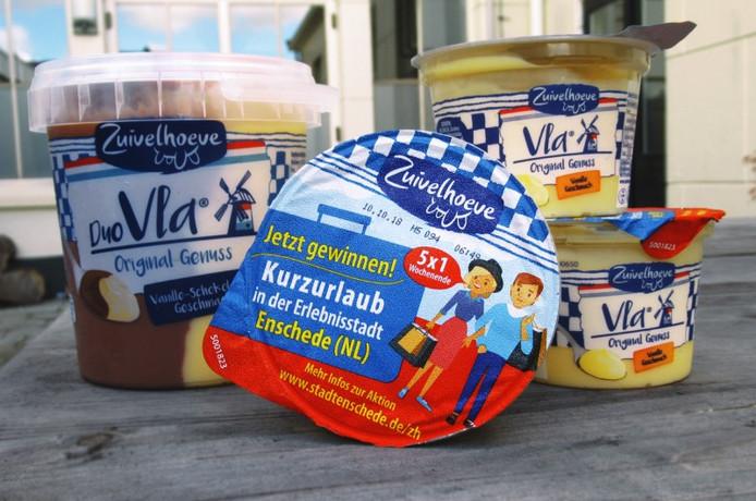 Enschede-actie op de verpakkingen vla voor de Duitse markt.