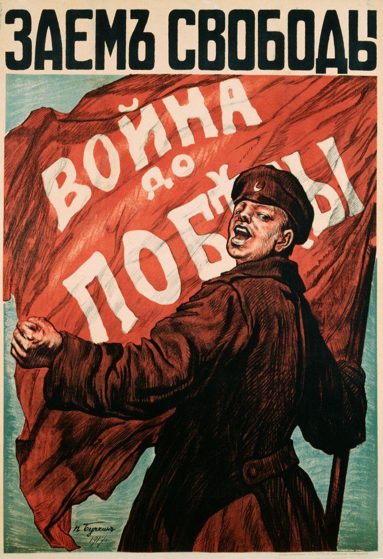Affiche met een Russische soldaat, van N. Tyrkurr. Beeld null