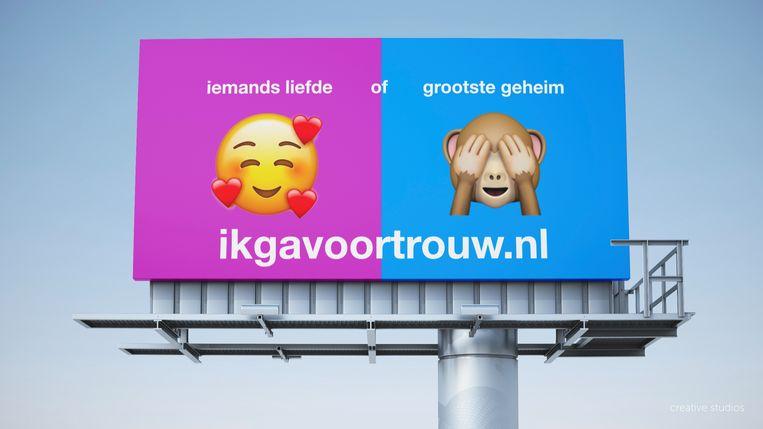 Het billboardontwerp voor ikgavoortrouw.nl is plots de populairste in de onlineverkiezing. Beeld SGP
