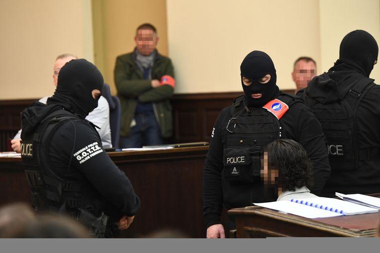 Salah Abdeslam in de rechtbank. Beeld AFP