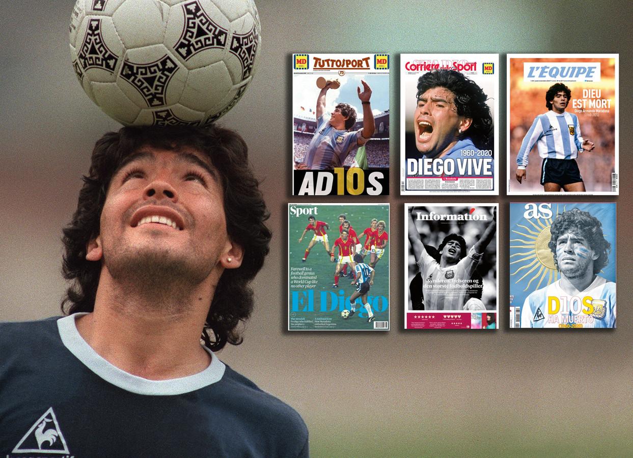 Diego Maradona siert de covers van duizenden kranten in de wereld.