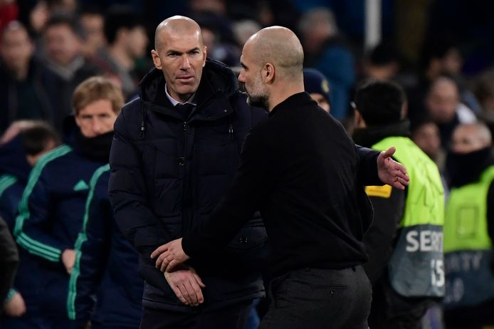 Zinédine Zidane (links) en Pep Guardiola.