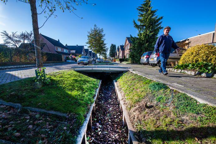 Buurtbewoner Hans Zoetbrood wandelt op de Frans van Mierisstraat langs de Orderbeek, die tot zijn verbazing al meer dan twee weken droog staat.