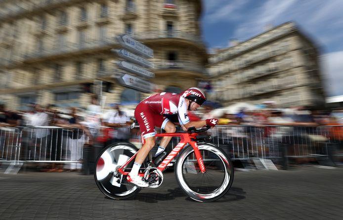 Maurits Lammertink in actie in Marseille, tijdens de Tour de France van vorig jaar.