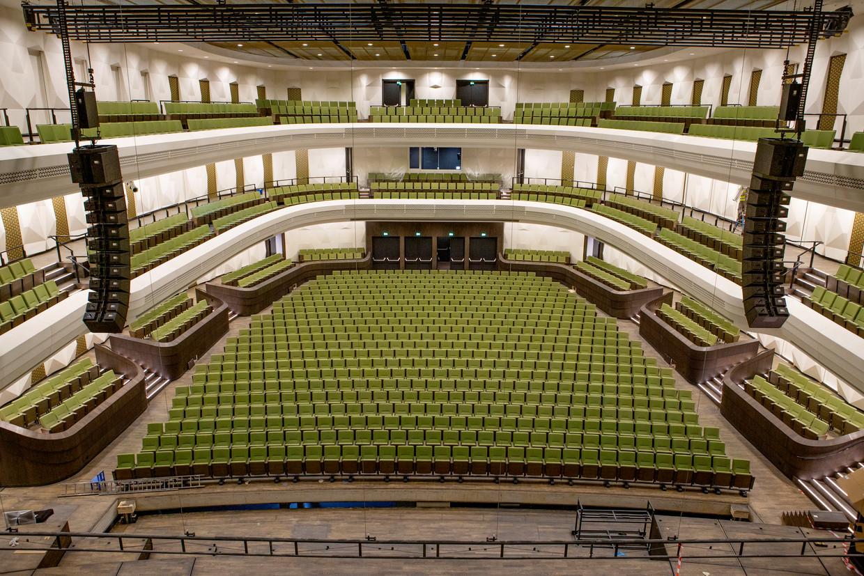 De concertzaal van cultuurcomplex Amare, met 1.500 zitplaatsen of 2.500 staplaatsen. Beeld Pauline Niks