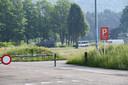 Legervoertuigen op de parking van de Luminus Arena in Genk.
