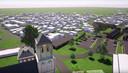 Een nog zeer globale schets van hoe het nieuwe dorpsplein van Volkel eruit zou kunnen zien. Links de kerk en de oude pastorie, rechts de nieuwe school en daarachter de bestaande Jumbo.