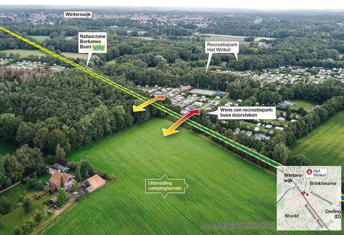 Het plan voor uitbreiding van camping Het Winkel. De woningen links worden volgens het plan volledig omringd door kampeerterrein.