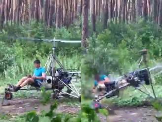 Testritje met zelfgebouwde helikopter gaat niet zoals gepland