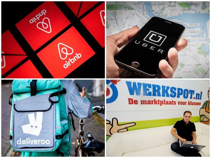 Logo's van Airbnb, Uber, Deliveroo en Werkspot.