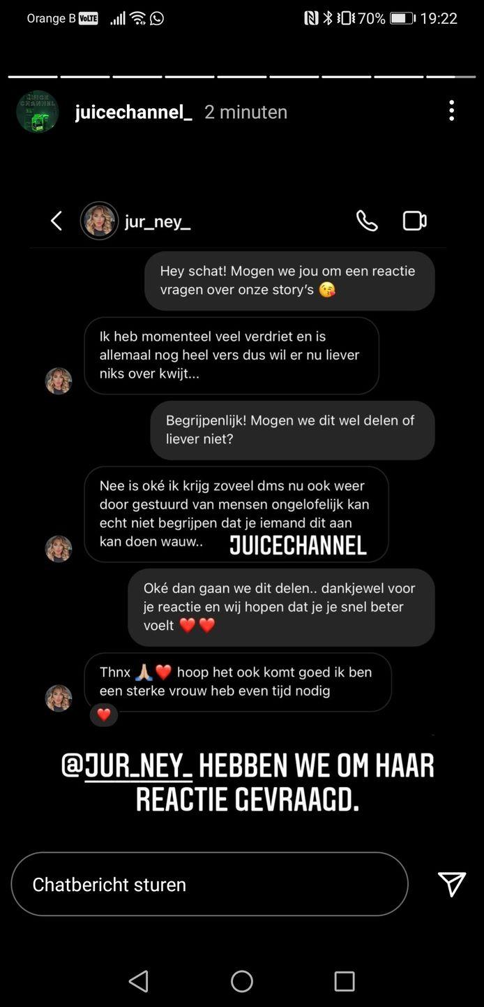 Jørney en Odim uit 'Ex on the Beach: Double Dutch' zijn niet langer een stel. Instagramaccount Juicechannel denkt te weten waarom.