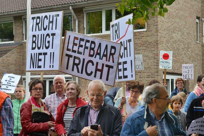 Actie in 2015 in Tricht tegen de overlast door het spoor