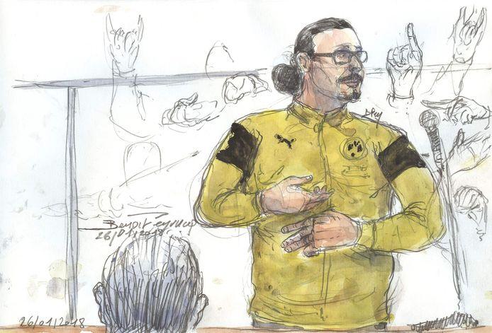 Jawad Bendaoud in de rechtbank.
