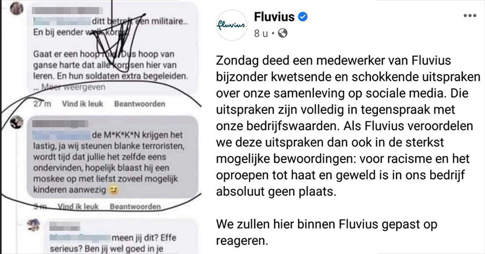 M.B., een medewerker van Fluvius, postte deze kwetsende en schokkende uitspraak op sociale media. Fluvius antwoordde dat het bedrijf 'er gepast op zal reageren'.