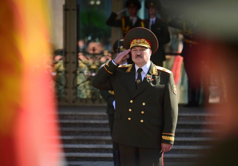 Aleksandr Loekasjenko tijdens de in het geheim georganiseerde inauguratie.