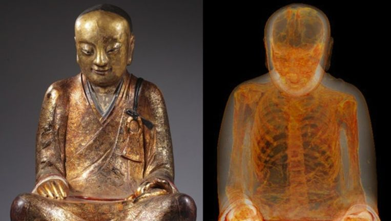 De betwiste mummie in een door de CT-scanner van het Drents Museum Beeld Drents Museum