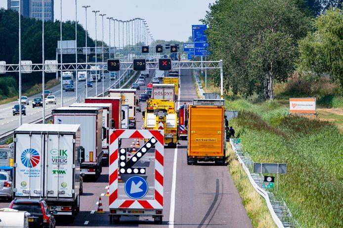 File op A58 bij Tilburg