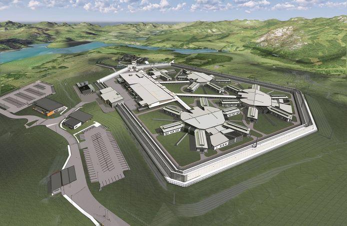 Een artistieke impressie van de vernieuwde gevangenis van Auckland.