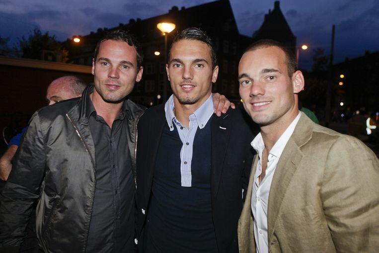 De gebroeders Sneijder (vlnr): Jeffrey, Rodney en Wesley. © PRO SHOTS Beeld