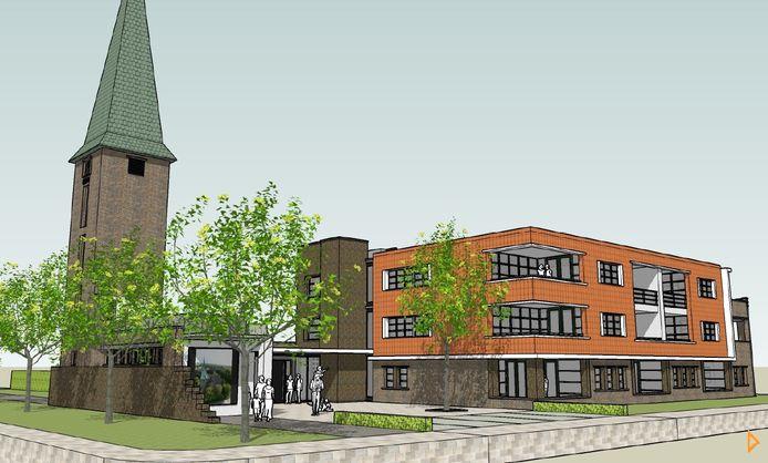 Impressie van het appartementengebouw, dat naast de toren van de Bathsewegkerk in Rilland zal worden gebouwd. Een klein deel van de huidige kerkzaal zal behouden blijven en dienst doen als berging voor de woningen.